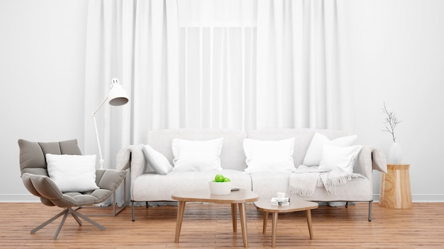 Cozy living room with elegant sofa and armchair, and large window Free Psd