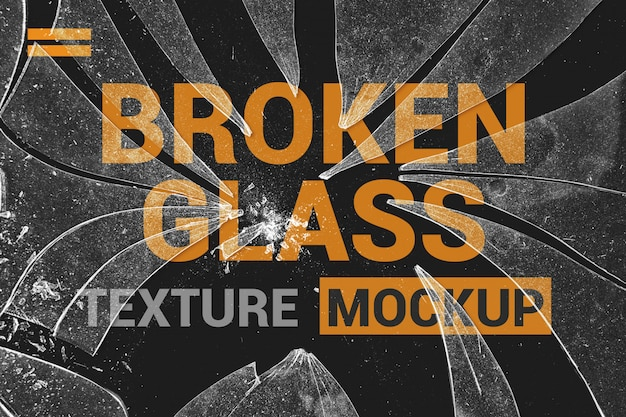 Cracked glass on poster mockup Premium Psd