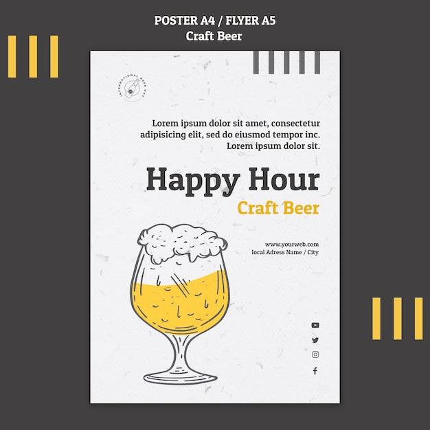 Шаблон флаера счастливого часа крафтового пива Бесплатные Psd