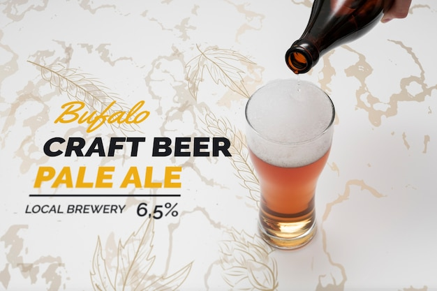 Craft beer poured in glass with mock-up Free Psd