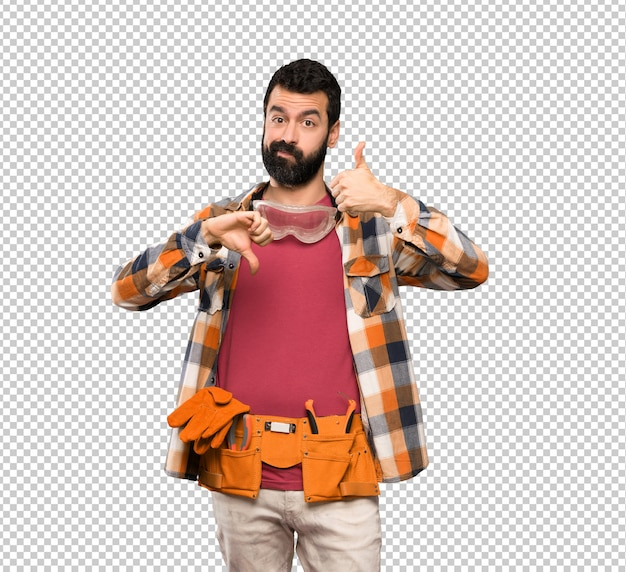 Craftsmen man making good-bad sign. undecided between yes or not Premium Psd