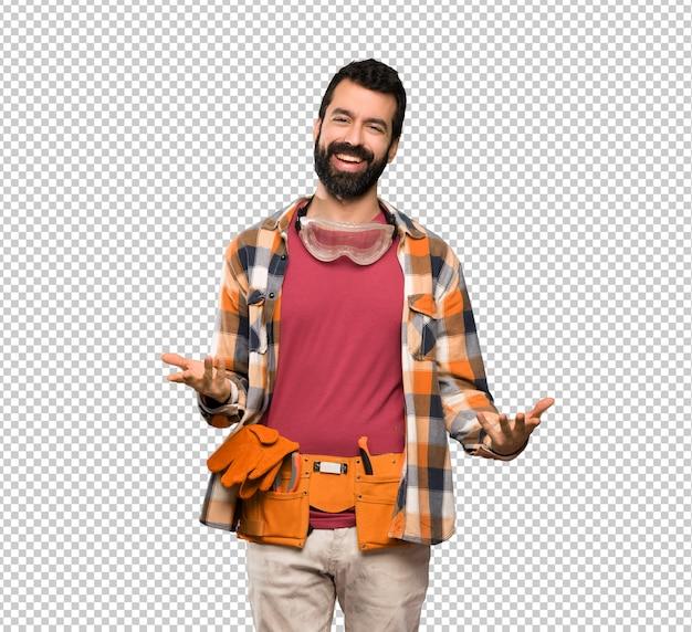 Craftsmen man smiling Premium Psd