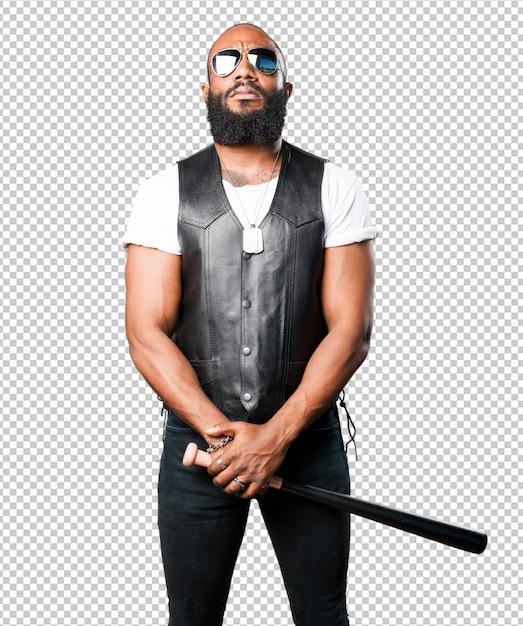Crazy black man with a baseball bat Premium Psd