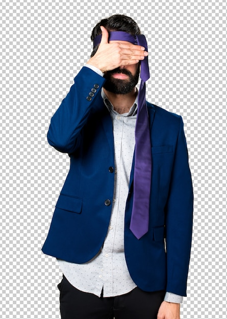 Crazy and drunk businessman covering his eyes Premium Psd