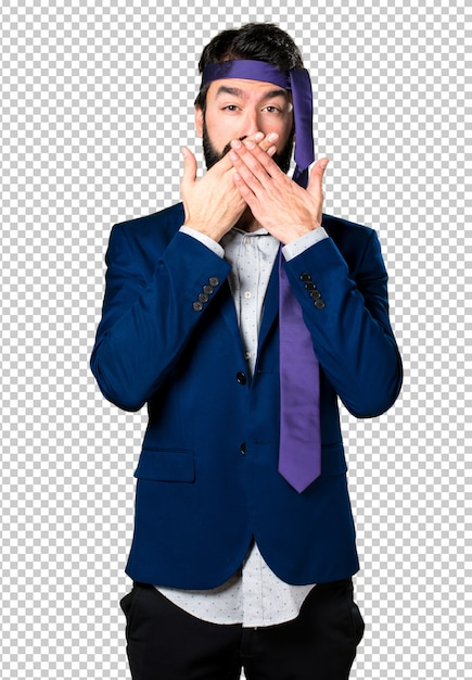 Crazy and drunk businessman covering his mouth Premium Psd