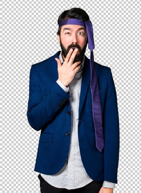 Crazy and drunk businessman making surprise gesture Premium Psd