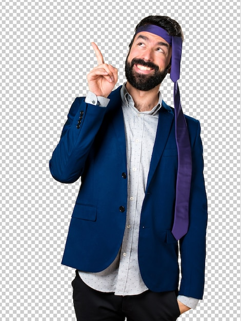 Crazy and drunk businessman pointing up Premium Psd