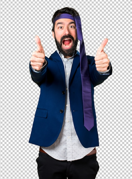 Crazy and drunk businessman with thumb up Premium Psd