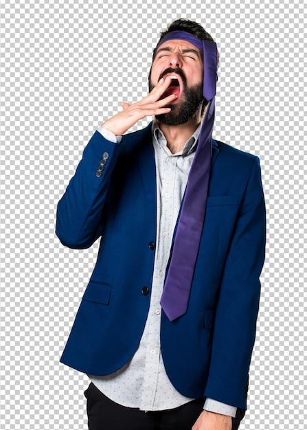 Crazy and drunk businessman yawning Premium Psd