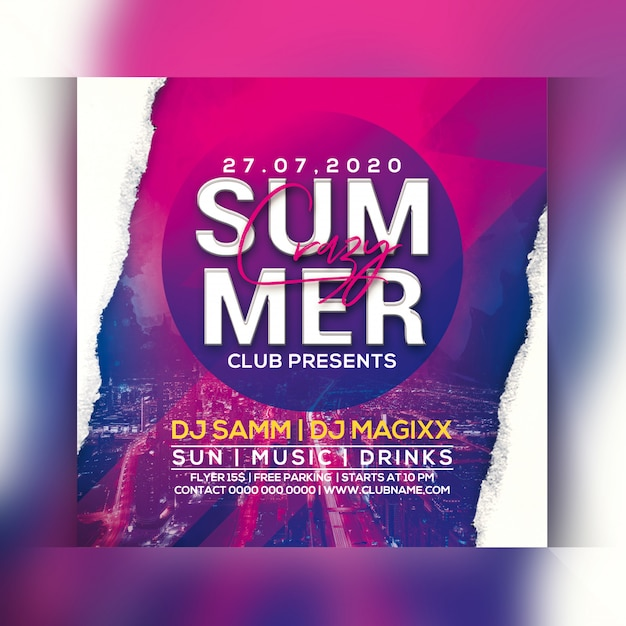 Crazy summer party flyer Premium Psd