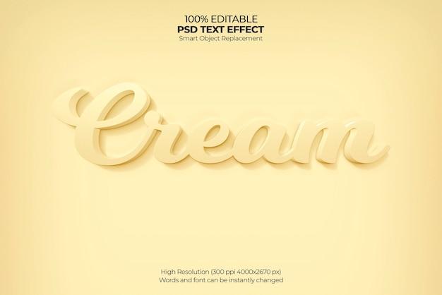 Cream 3d text effect Free Psd
