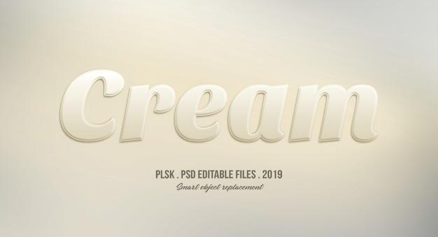 Cream 3d text style effect Premium Psd