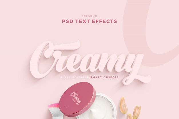 Creamy text effect mockup Premium Psd