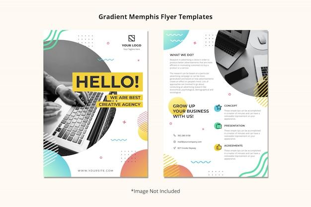 クリエイティブエージェンシーパンフレットチラシテンプレートシンプルできれいな抽象的なメンフィススタイル Premium Psd