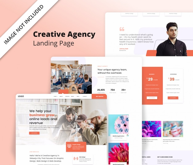 Creative agency landing page template Premium Psd