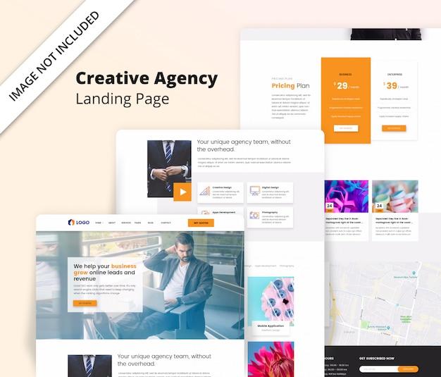 Creative agency landing page template Premium Psd