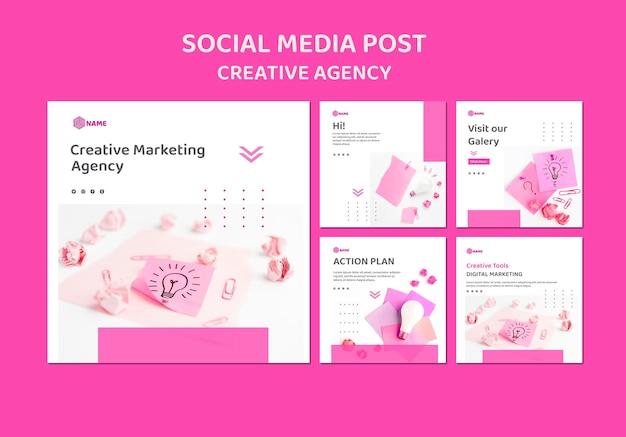 Шаблон сообщения в социальных сетях креативного агентства Premium Psd