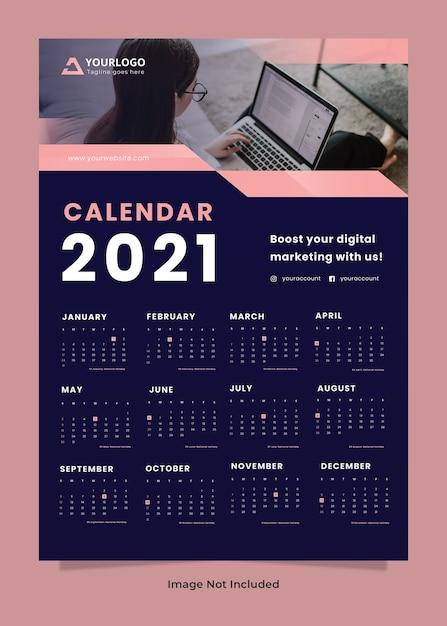 Шаблон настенного календаря креативного агентства Premium Psd