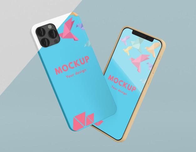 Creative arrangement of phone case mock-up Free Psd