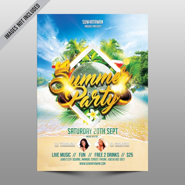 creative beach party flyer mockup psd file premium download