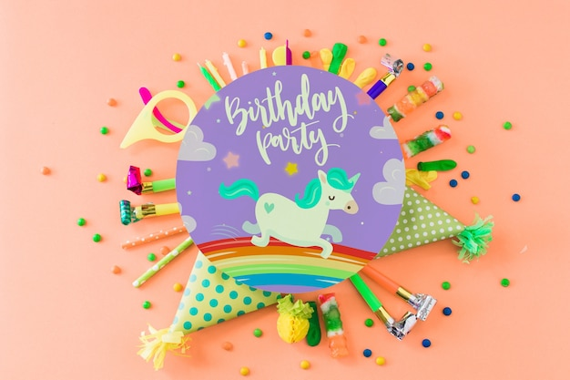 Creative birthday mockup Free Psd