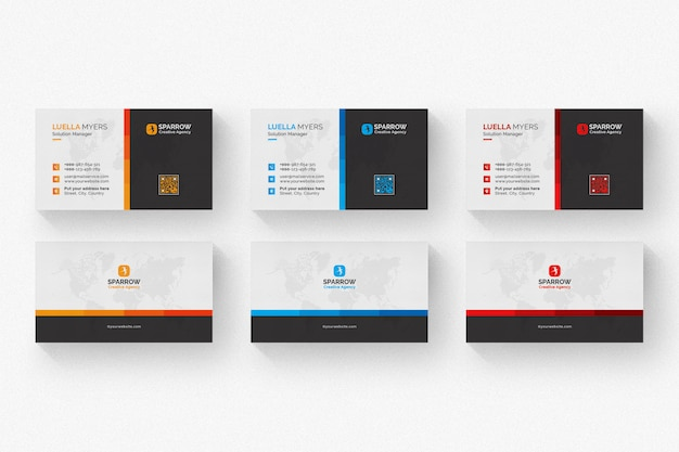 Creative business card with multiple color details Premium Psd