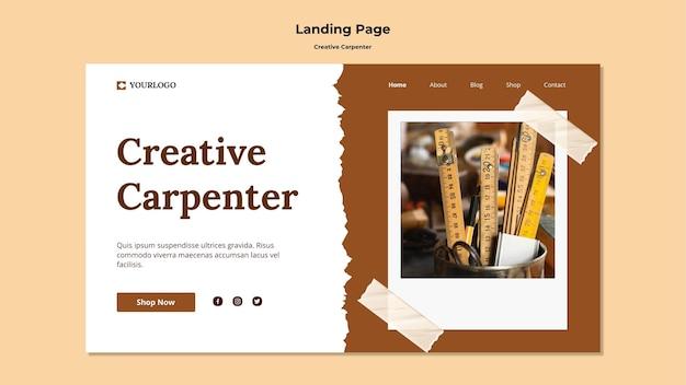 Modello di pagina di destinazione del carpentiere creativo Psd Gratuite