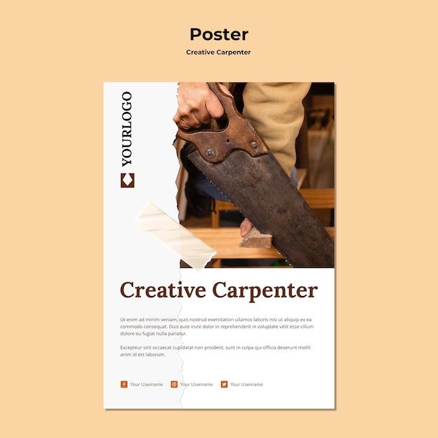 크리 에이 티브 목수 템플릿 포스터 무료 PSD 파일