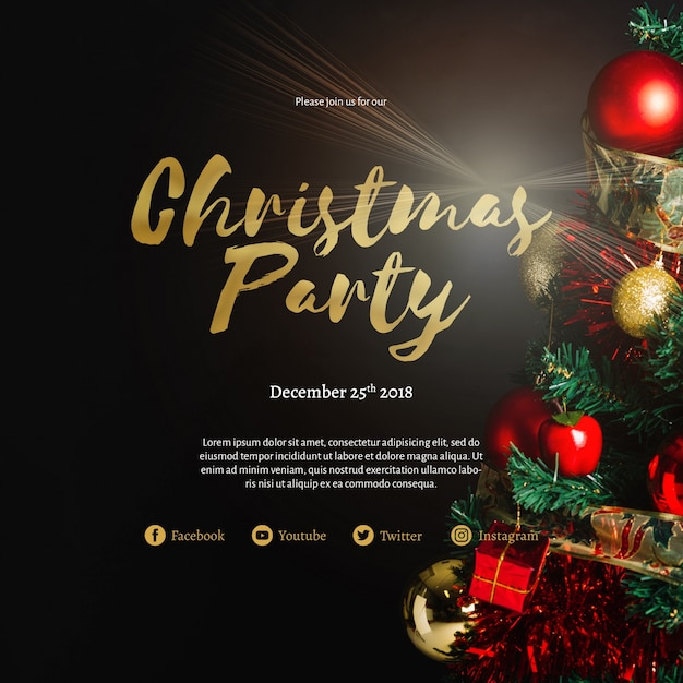 Creative christmas party cover template Premium Psd