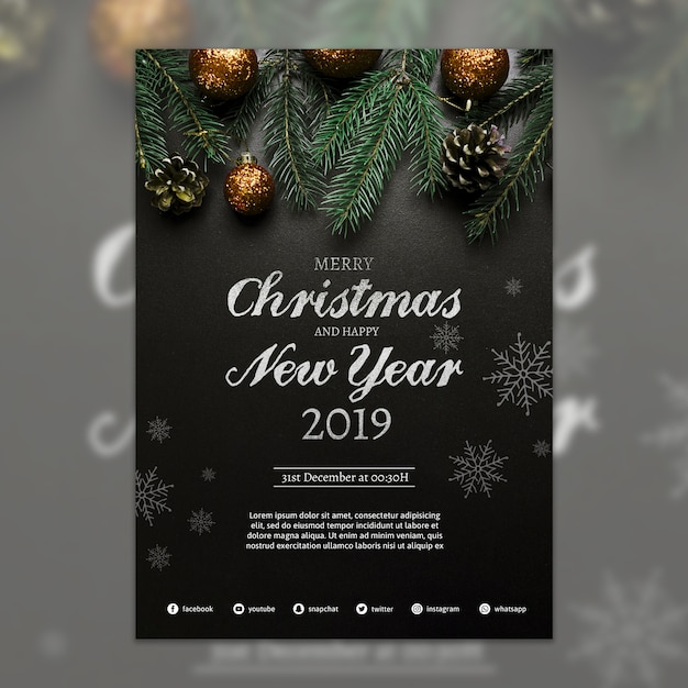 Creative christmas party cover template Free Psd