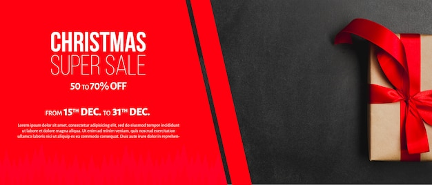 Creative christmas sales banner template Free Psd