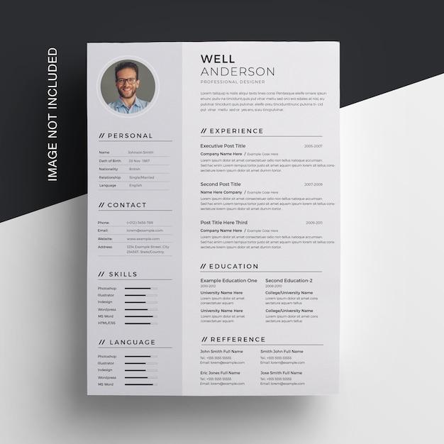 創造的なきれいな履歴書デザイン Premium Psd