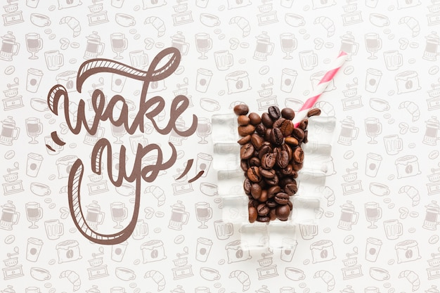 Creative coffee glass for elegant background Free Psd