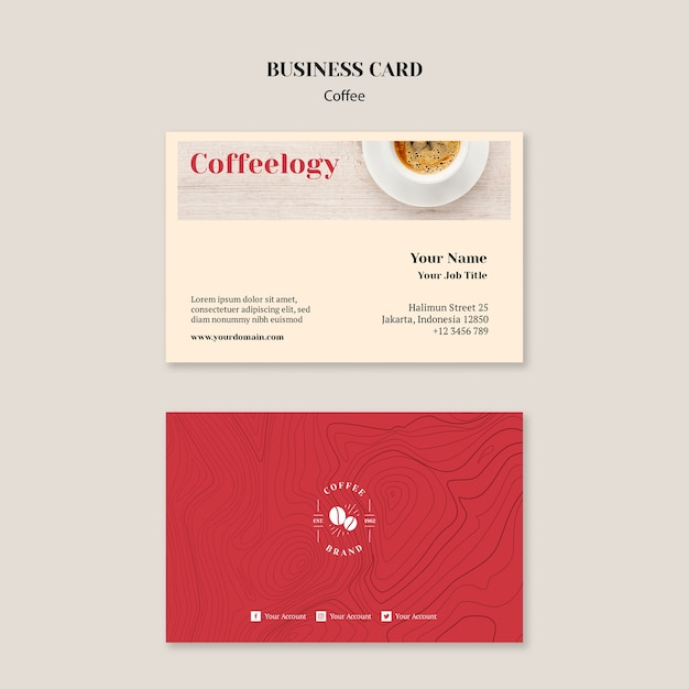 Creative coffee shop business card template Free Psd
