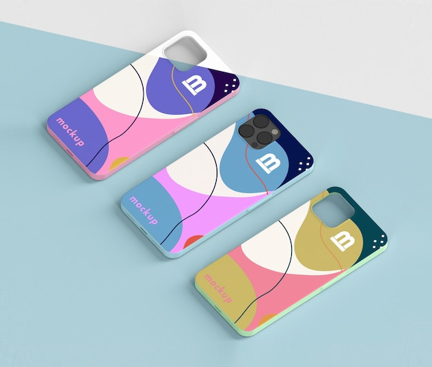 Creative composition of phone case mock-up Free Psd