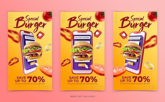Creative concept burger menu marketing promotion template Premium Psd