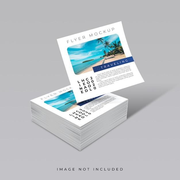 정사각형 전단지 모형의 창의적인 개념 데크 프리미엄 PSD 파일
