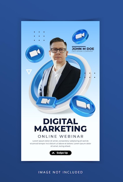 Creative concept live streaming workshop social media marketing ad instagram stories template