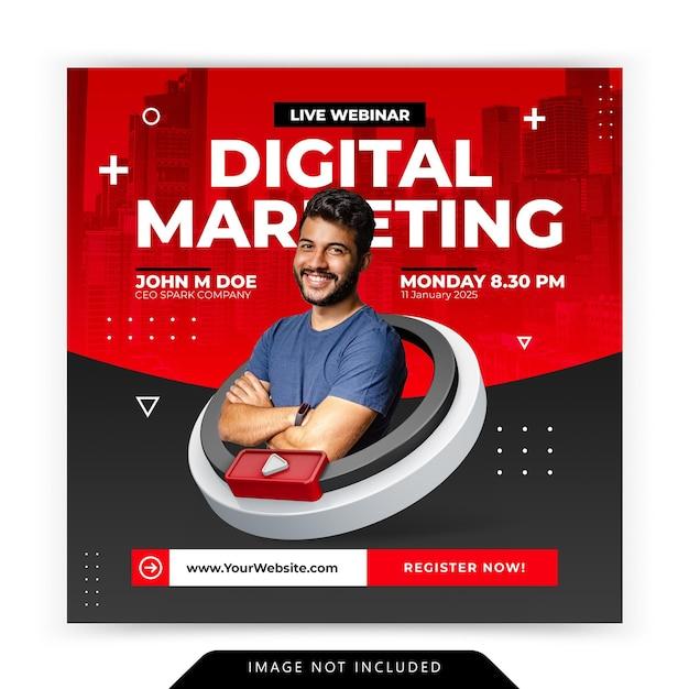 디지털 마케팅 프로모션 워크샵 템플릿을위한 크리에이티브 컨셉 소셜 미디어 인스 타 그램 라이브 프리미엄 PSD 파일