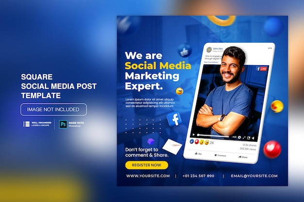 Creative concept social media instagram post for digital marketing promotion template Premium Psd