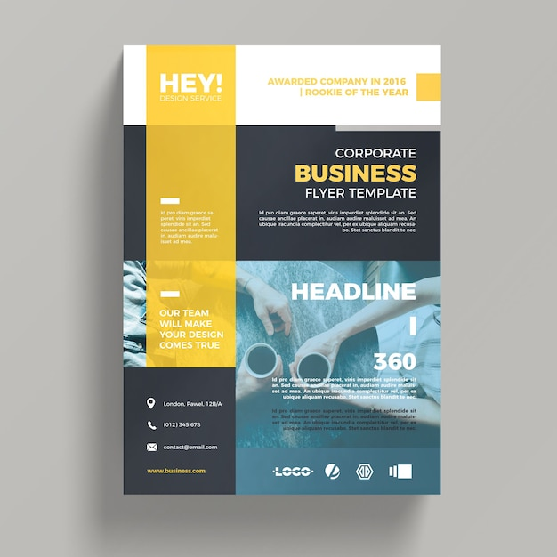 Creative corporate business flyer template psd file free for Brochure template psd free download
