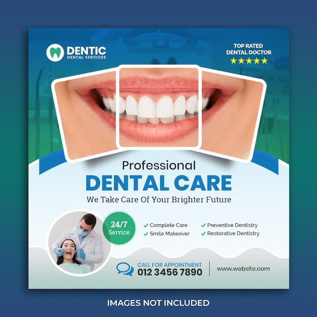 Creative dental flyer square bannertemplate Premium Psd