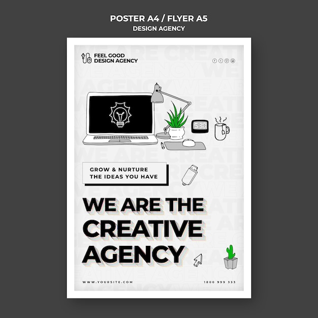 Creative design agency flyer template Free Psd