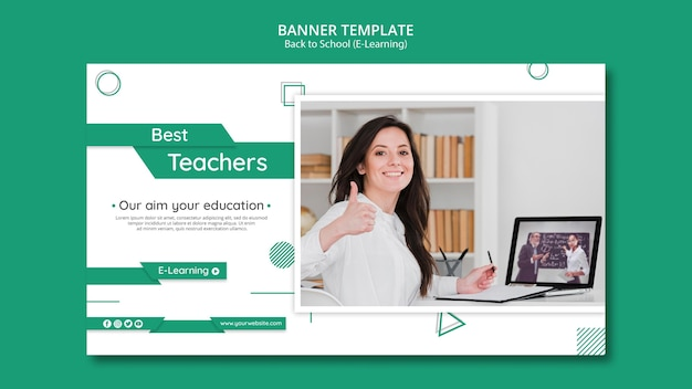 Creative e-learning horizontal banner template with photo Free Psd
