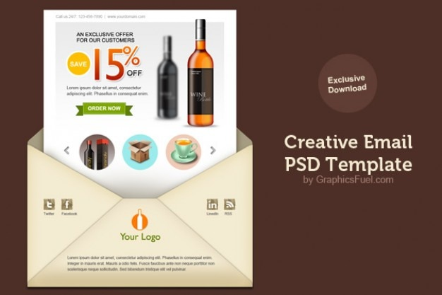 Creative Email Newsletter Psd Template PSD File Free Download - Creative newsletter design templates