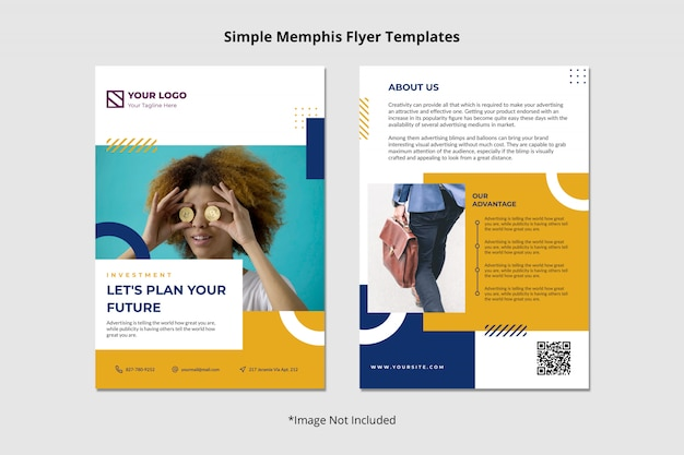 Creative finance investment brochure flyer template simple clean abstract memphis Premium Psd
