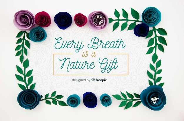 Creative floral frame with positive message Free Psd