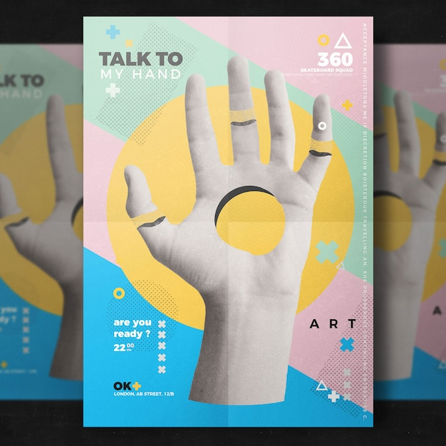 Creative hand flyer template Free Psd