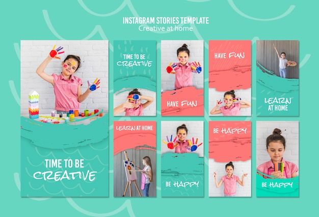 Creative at home instagram stories Free Psd