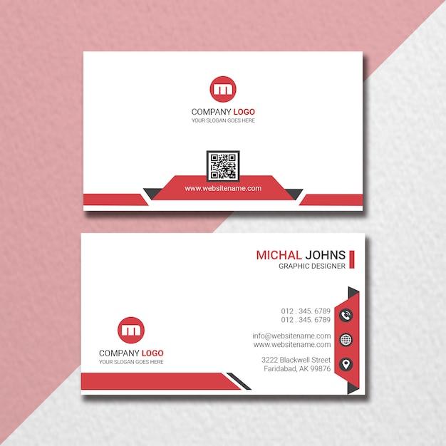 Креативная горизонтальная визитная карточка Premium Psd